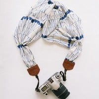 Fractured Indigo Scarf Camera Strap