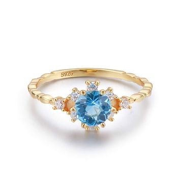 14K Yellow Gold Natural Blue Topaz Engagement Ring