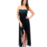 Black & Teal Floral Lace Strapless Breakaway High-Low Dress Prom 2015