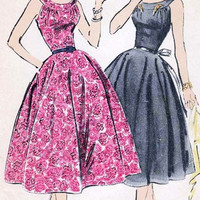 1950s Vintage Sewing Pattern Advance 8296 Rockabiily Bombshell Dress with Curved Yoke and Low Neckline Size 14 Bust 34