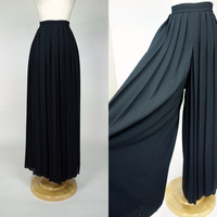 1980s black palazzo pants, pleated crepe wide leg high waist pants, Medium, Large, XL, 8, 10, 12