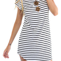 Trapeze Shape Striped Dress