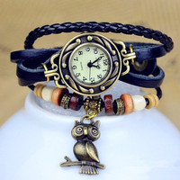 Woman watch with leather bracelet. Bracelet from natural cow leather. Vintage ladies watch Owl Pendant.