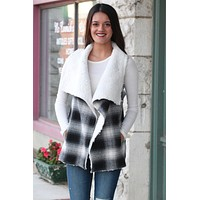 Checked Out Fur Lined Vest {White+Black} - Size SMALL