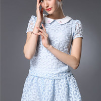 Peter Pan Collar Short Sleeve Embroidery Mesh Top with Pleated Mini A-Line Skirt Set