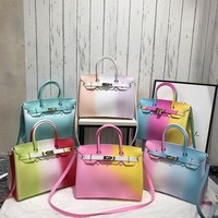 Women Fashion Color Patchwork Strap Handbags