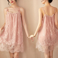 Sexy Underwear Women's Sexy Pajamas Thin Suspender Lace Perspective Nightdress Suit