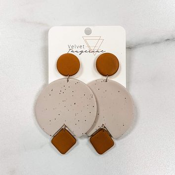 Large Terra Cotta and Creme Rounds Polymer Clay Earrings