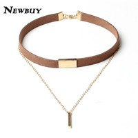 NEWBUY 2017 New Black Velvet Choker Necklace Gold Chain Bar Chokers Chocker Necklace For Women Collares Mujer Collier Female