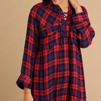 Red Plaid Fringe Lace Up Tunic (final sale)