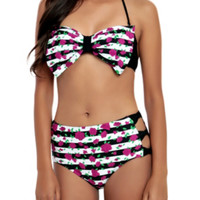 Striped Rose Bow Swim Top