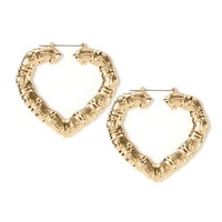 Large Gold Heart Shaped Bamboo Hoop Earrings | Icing
