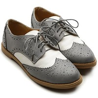 Ollio Women's Flat Shoe Wingtip Lace Up Two Tone Oxford(7 B(M) US, Sand)