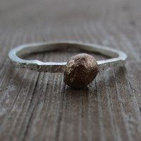 Rustic Gold Pebble Stacking Ring, Thin Hammered Silver Ring with Solid 14k Gold Dot, Size 6.5