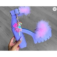 New women's shoes plush shoes buckle thick heel high heels large size shoes