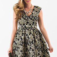 Harmony Black and Gold Floral Jacquard Fit and Flare Dress