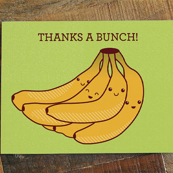 Thank you card - Thanks a Bunch! Bananas card, thanks card, pun card, funny thank you note, yellow green, thanks for gift, funny thanks