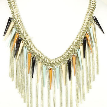 BRAIDED MULTI COLOR HORN NECKLACE WITH FRINGE
