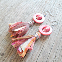Pink Tassel Earrings - Paper Bead Earrings - Ethnic Jewelry - Tribal Earrings - Tribal Fusion - Upcycled, Recycled, Repurposed