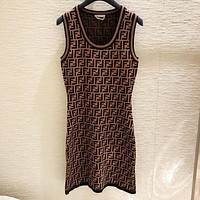 Fendi Fashion Women Show Body Sleeveless Vest Type Dress B-AK-LCON Print Coffee