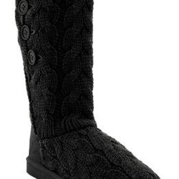 Women's Buttoned Sweater-Knit Boots