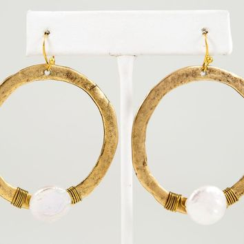 Circle Earring with Stone, Large - Gold or Silver