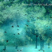"Nature Photography - Surreal Dreamy Fantasy Trees, Aqua, Teal, Nature, Ravens, Birds, Ethereal Fine Art Photograph 8"" x 12"""