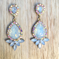 Iridescent Champagne Crystal Earring