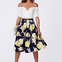 Missguided - Gabriele Full Midi Skirt In Floral Print Navy