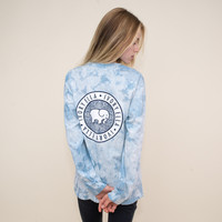 True Navy Acid Wash Floral Medallion Tee