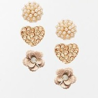 River Island   River Island Flower And Heart Three Pack Stud Earrings at ASOS