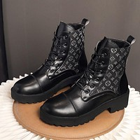 LV Louis Vuitton new Martin boots thick-soled short boots lace-up mid-tube boots breathable cloth women's boots Shoes