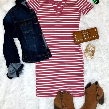 Let's Have Some Fun Striped Dress: Rose