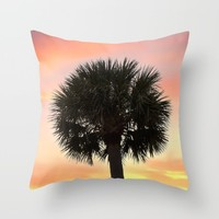 Palm and Sunset Throw Pillow by Legends Of Darkness Photography