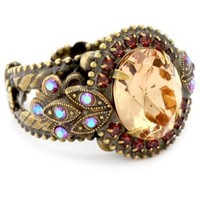 """Sorrelli """"Tapestry"""" Crystal Vintage Inspired Adjustable Gold-Tone Ring - designer shoes, handbags, jewelry, watches, and fashion accessories 