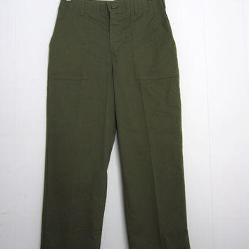 """Vintage 70s  US Military Army Air force Utility Green Fatigue Trousers Pants Short 29"""" x 28"""""""
