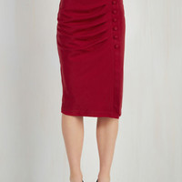 Pinup Long Pencil A Trip into Town Skirt in Cherry