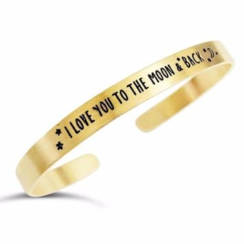 """""""I Love You to the Moon and Back"""" Engraved Bangle"""