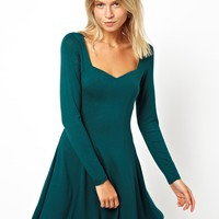 ASOS Skater Dress With Sweetheart Neck And Long Sleeve