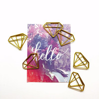 Gold Diamond Paperclips, Geometric Paper Clips, Scrapbooking Embellishments, Scrap Book Bling, Planner Decoration, Planner Embellishments