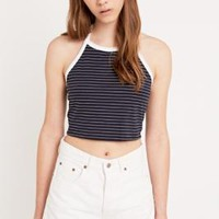 BDG '90s Ringer Stripe Halter Top in Navy - Urban Outfitters