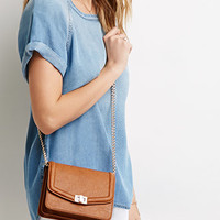 Chained Faux Leather Crossbody