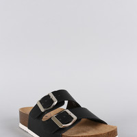 Breckelle Double Strap Footbed Flat Sandal