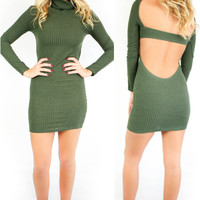 Vanderbilt Olive Sweater Dress