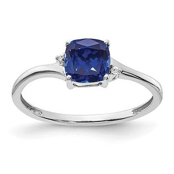 Sterling Silver Cushion Created Sapphire And Diamond Ring
