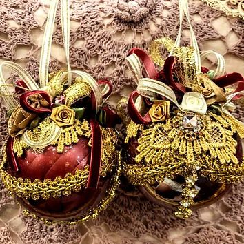Rhinestone Gold and Burgundy Victorian Ornament Round Shape