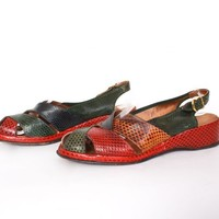 Vintage 40s SNAKESKIN Wedges / 1940s Open Toe Ankle Strap Slingback Sandals Shoes 8 1/2 - 9