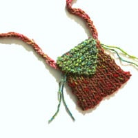 Red, pouch necklace, fiber necklace, fiber jewelry, medicine pouch, fetish bag, knit jewelry, yarn necklace