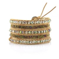 Transparent Green Crystals with Miyuki Glass Seed Beads on Natural Leather Wrap Bracelet
