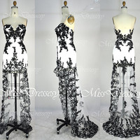 Strapless Sweetheart Front Short Long Back Black Lace Prom Dresses, Wedding Party Dress, Evening Dress, Formal Gown